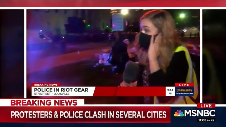 Louisville police fire shots at news crew