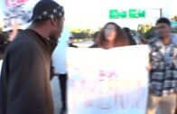 RAW VIDEO (Includes graphic language): Protesters stop traffic on I-5 in La Jolla area